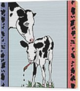 Cow Artist Cow Art Wood Print