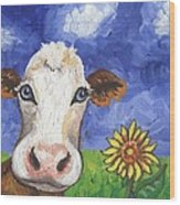 Cow Fantasy One Wood Print