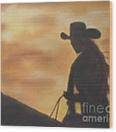 Cow Girl At Sunset Wood Print