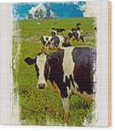 Cow On Farm Version - 3 Wood Print