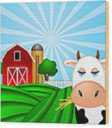 Cow On Green Pasture With Red Barn With Grain Silo  Wood Print