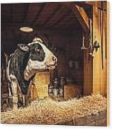 Cow On The Farm Wood Print