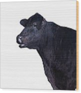 Cow On White Wood Print
