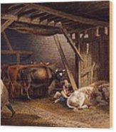 Cow Shed Wood Print by Robert Hills