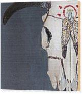 Cow Skull In Blue Wood Print