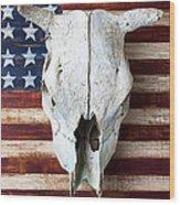 Cow Skull On Folk Art American Flag Wood Print by Garry Gay