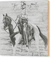 Cowboy And Horse No Fences Wood Print