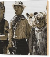 Cowboy And Indian Armory Park Tucson Arizona Black And White Toned Wood Print