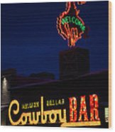 Cowboy Bar Wood Print