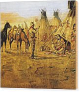 Cowboy Bargaining For The Indian Girl Wood Print by Charles Russell