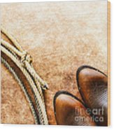Cowboy Boots And Lasso Wood Print