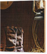 Cowboy Boots At The Ranch Wood Print by Olivier Le Queinec