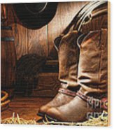 Cowboy Boots In A Ranch Barn Wood Print