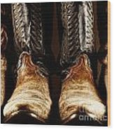 Cowboy Boots In High Contrast Light Wood Print