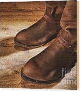 Cowboy Boots On Saloon Floor Wood Print
