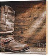 Cowboy Boots On Wood Floor Wood Print