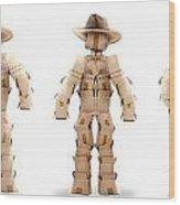 Cowboy Box Characters On White Wood Print