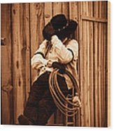 Cowboy Break Wood Print