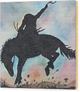 Cowboy Bronco Wood Print