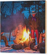 Cowboy Campfire Wood Print by Inge Johnsson