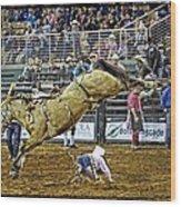 Cowboy Down Wood Print