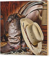 Cowboy Gear Wood Print by Olivier Le Queinec