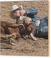 Cowboy Has Steer By Horn Wood Print