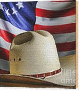 Cowboy Hat And American Flag Wood Print