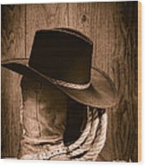 Cowboy Hat And Boots Wood Print by Olivier Le Queinec