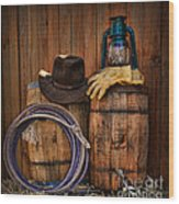 Cowboy Hat And Bronco Riding Gloves Wood Print by Paul Ward