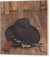 Cowboy Hat And Gun Wood Print