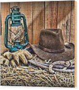 Cowboy Hat And Rodeo Lasso Wood Print by Paul Ward