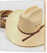 Cowboy Hat And Rope Wood Print