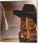 Cowboy Hat On Boots Wood Print by Olivier Le Queinec