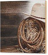 Cowboy Hat On Hay Bale Wood Print