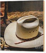 Cowboy Hat On Lasso Wood Print