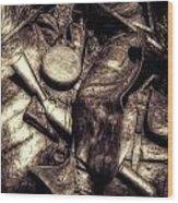 Cowboy In Bronze Wood Print
