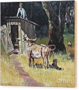 Cowboy On The Outhouse  Wood Print
