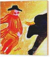 Cowboy Rodeo Clown And Black Bull 1 Wood Print