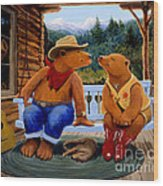 Cowboy Romance Wood Print by Charles Fennen