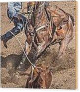 Cowboy Ropes Calf  Wood Print