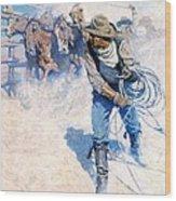 Cowboy Roping Wild Horses Wood Print