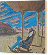 Cowboy Sitting In Chair At Sundown Wood Print