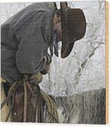 Cowboy Sleeps In The Saddle Wood Print