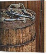 Cowboy Spurs On Wooden Barrel Wood Print