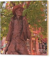 Cowboy Statue In Front Of The Brown Palace Hotel In Denver Wood Print
