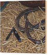 Cowboy Theme - Horseshoes And Whittling Knife Wood Print by Paul Ward