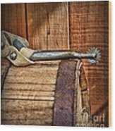 Cowboy Themed Wood Barrel And Spur Wood Print by Paul Ward
