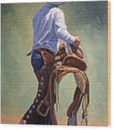 Cowboy With Saddle Wood Print