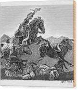 Cowboys And Longhorns Wood Print
